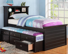 Cecily Black Twin Bookcase Bed w/ Trundle