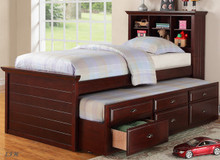 Cecily Cherry Twin Bookcase Bed w/ Trundle