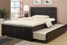 Cyril Espresso Faux-Leather Full Bed w/ Trundle