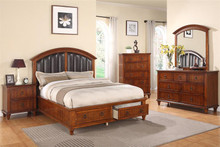 Reed Medium Oak Storage Platform Bed