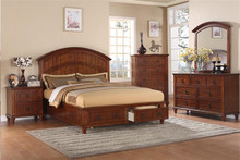 Reed Medium Oak Panel Storage Platform Bed