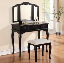 Miranda Black Makeup Table With Mirror