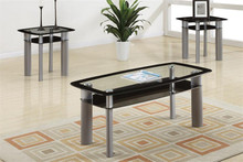 Kali Glass Black Chrome Coffee Table Set