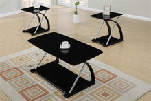 Lyna Glass Black Chrome Coffee Table Set