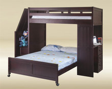 Lake View Walnut Twin Full Loft Bed with Stairs