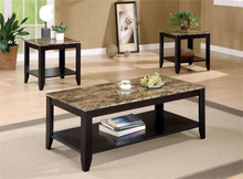 Black Faux-marble Coffee Table Set