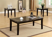 Faux-Marble Espresso Coffee Table Set