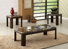 Faux-Marble Dark Cherry Coffee Table Set