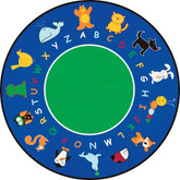 Learning Carpets Fun With Animals Cut Pile Rug - Round