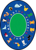 Learning Carpets Fun With Animals Cut Pile Rug - Oval