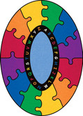 Learning Carpets ABC Rainbow Puzzle Cut Pile Rug - Oval