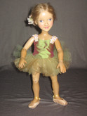 Xenis 12-Inch Wooden Green Ballerina Doll Gina
