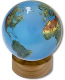 Shasta Visions Aqua Crystal Globe - 6 Inch Diameter on Wooden Base (191-AQ)