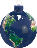 Shasta Visions Glass Earth Ornament - 2.5 Inch Diameter, Natural Earth Continents (515)