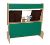 Deluxe Puppet Theater with Chalkboard - Brown Curtains