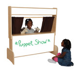 Deluxe Puppet Theater with Markerboard - Brown Curtains (WD-21651BN)