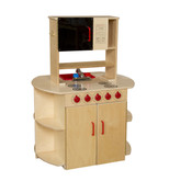 All-In-One Play Kitchen Center View of Microwave and Stove