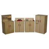 Classic Play Kitchen, Set of Four Appliances with Red Sink and Knobs