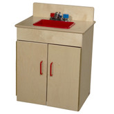 Classic Wooden Play Sink with Red Handles and Sink