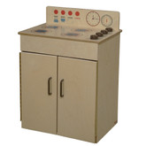 Classic Wooden Play Stove with Brown Handles and Knobs