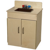 Classic Wooden Play Sink with Brown Handles and Sink