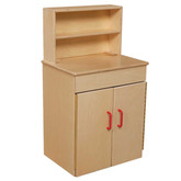 Classic Wooden Play Kitchen Deluxe Hutch with Red Handles