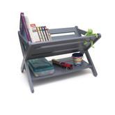 Lipper International Kid's Book Caddy With Shelf, Gray
