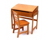 Lipper International Child's Slanted Top Desk & Chair, Pecan Finish