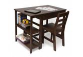 Lipper International Child's Work Station & Chair, Walnut Finish