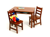 Lipper International Child's Rectangular Table with Shelves and 2 Chairs - Cherry