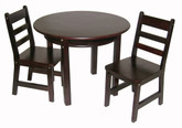 Lipper International Child's Round Table with Shelf and 2 Chairs - Espresso