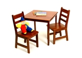 Lipper International Child's Square Table and Chairs 3-Piece Set - Cherry Finish