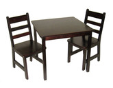 Lipper international Child's Square Table and Chairs 3-Piece Set - Espresso Finish