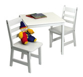 Lipper International Child's Square Table and Chairs 3-Piece Set - White