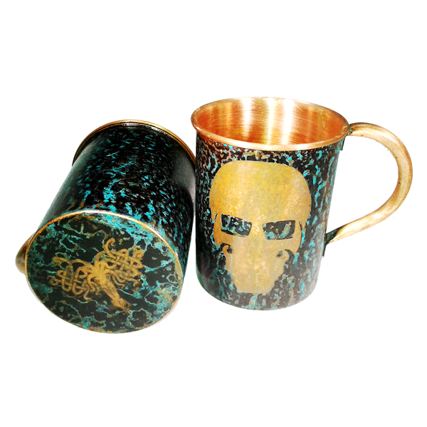Forced Patina Finish Mugs - GFT Garry Logo - Handmade in the USA by SouthPaw Knots - Bottom View