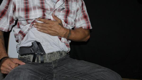 Berkut V2 - Adjustable Reverse Cant Appendix Holster - Sitting