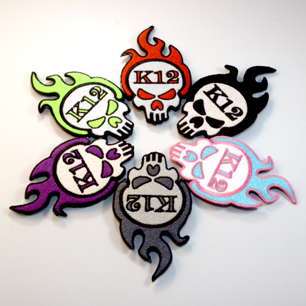"""K12 Logo Patch Baller Pack - Includes Miami Vice, """"Murdered Out"""", Black, Toxic, Red, and Purple Drank colors."""