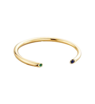 Obi Bangle in Gold with Emerald and Sapphire