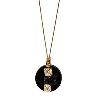 Glynneth B Jewelry Gold Onyx Crystal Skull Necklace