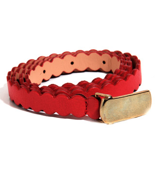Hoss Skinny Red Scalloped Belt