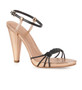 Intropia Contrasted Pleat Metallic Sandal in Black/Rose Gold