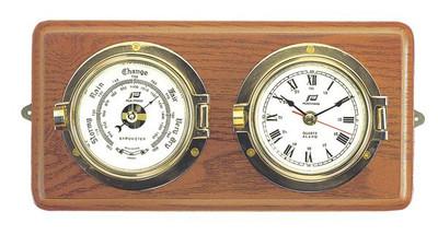 """Plastimo 3"""" Clock & Barometer on Wood RN/Arabic"""