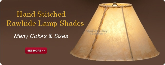 Hand Stitched Rawhide Lamp Shades