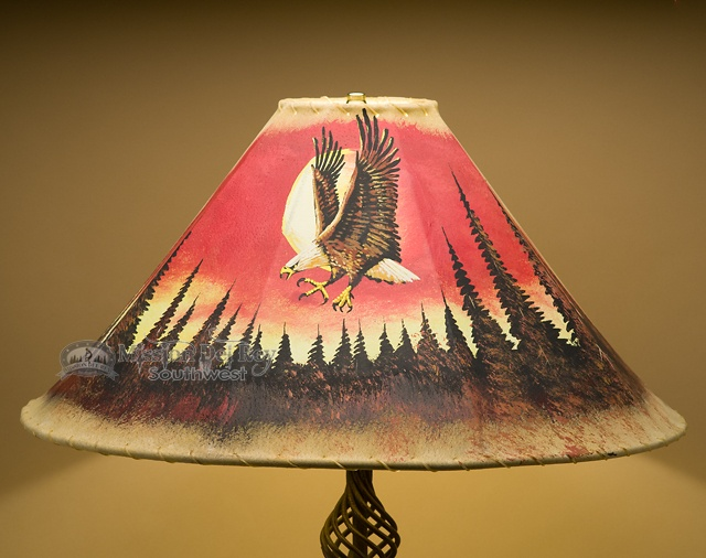 Painted leather lamp shades for rustic lighting mission for Painting light shades