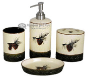 Lodge style 4 piece bathroom set - pine cone.