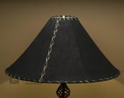 "Western Leather Lamp Shade - 22"" Black Pig Skin"