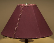 "Western Leather Lamp Shade - 14"" Burgundy Pig Skin"