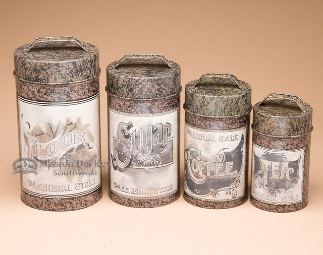 4 pc country tin kitchen canister set general store vintage tin kitchen canisters for sale collectibles