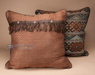 Southwestern Euro Pillow Shams : Western Del Rio Concho Pillow Euro Sham 27x27 - Mission Del Rey Southwest