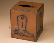 Cowboy boot metal tissue box cover.